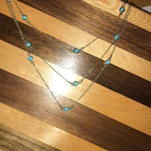 Layered turquoise adjustable length necklace